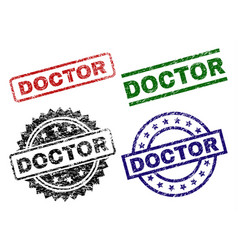 Scratched textured doctor seal stamps vector