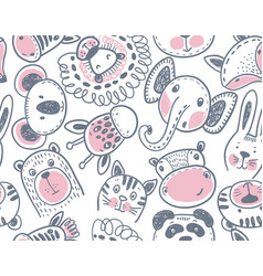 Seamless pattern with cute animal heads endless vector