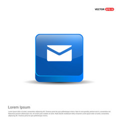 Send mail icon - 3d blue button vector