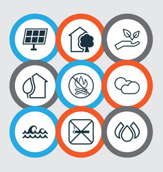 Set of 9 ecology icons includes home sun power vector