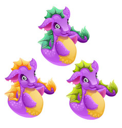 set of fantasy animals purple color isolated vector image