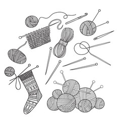set of knitting tools clothes and yarn vector image