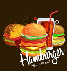 set tasty burgers grilled beef and fresh vector image