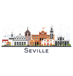 seville spain city skyline with color buildings vector image