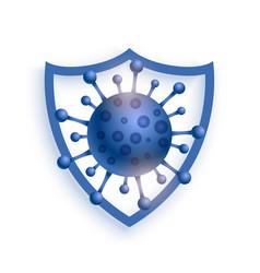 Shield protecting virus to enter concept vector