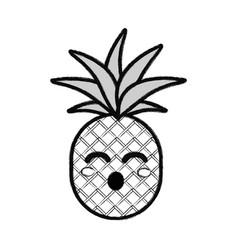 Silhouette kawaii cute funny pineapple vegetable vector