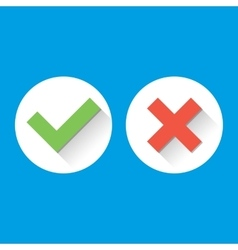 Simple Check Marks icons with long shadows in vector image