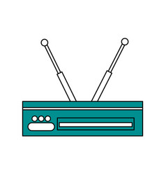 Sketch color silhouette decoder antenna tv vector