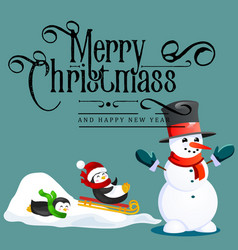 Snowman in black hat and gloves red scarf tied vector