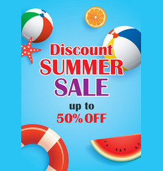Summer sale blue background banner template vector