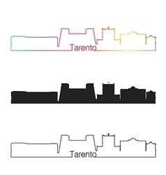 Tarento skyline linear style with rainbow vector image