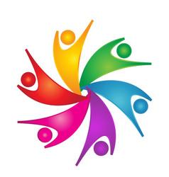 Teamwork energetic people symbol vector