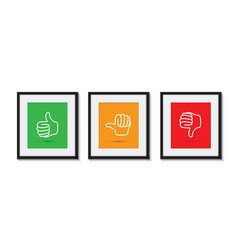 Thumbs up and down picture frames vector