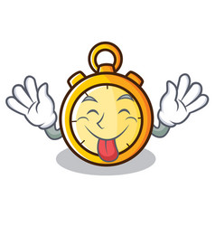 Tongue out chronometer character cartoon style vector