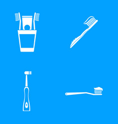 toothbrush icon blue set vector image