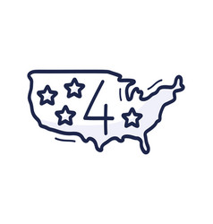 us map icon with number july 4 is drawn vector image