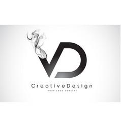 Vd letter logo design with black smoke vector