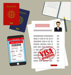 Visa approved blank or work permit passport and vector