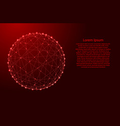 wireframe d sphere from futuristic polygonal red vector image