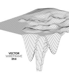 Wireframe Landscape Background Futuristic vector image vector image