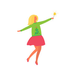 woman in green skirt yellow sweater with snowman vector image
