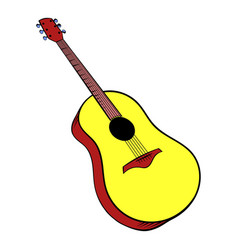 Wooden acoustic guitar icon cartoon vector
