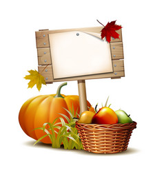 wooden banner with orange pumpkin autumnal leaves vector image