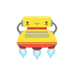 Yellow flying friendly android robot character vector