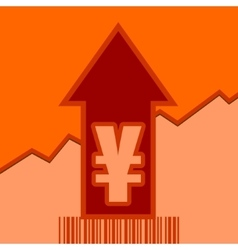 Yen sign on grow up arrow and bar code vector