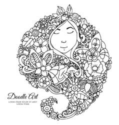 Zentangl girl with flowers in vector