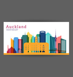 Auckland colorful architecture vector
