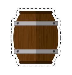 Cartoon wooden barrel wine icon vector