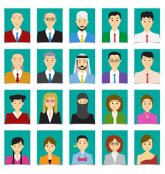 half body shot people in flat style with green vector image vector image