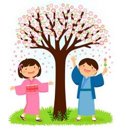kids in kimonos standing under a sakura tree vector image vector image