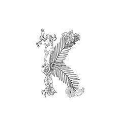letter k floral ornament vector image