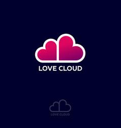 love cloud logo dating website emblem vector image