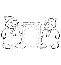snowmen boys with sign contours vector image vector image