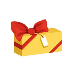 cartoon icon of yellow rectangular gift box with vector image vector image
