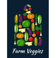 Farm veggies symbol of fresh organic vegetables vector image vector image