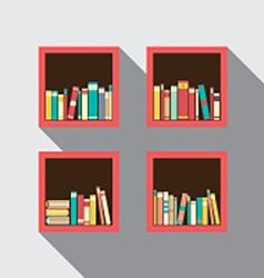 Flat Design Bookshelves Set On Wall vector image