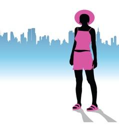 girl in pink dress vector image