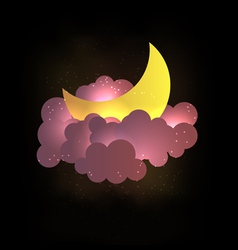 Moon clouds and stars Sweet dreams wallp vector image