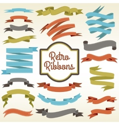 Retro ribbons cuttings composition poster vector