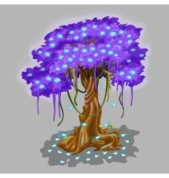 Tree with violet foliage and blue falling leaves vector image vector image