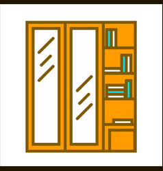 wooden wardrobe with two vertical doors and vector image vector image