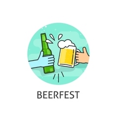 Beer festival logo isolated flat outline vector image vector image