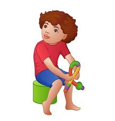 Cartoon playing boy vector image