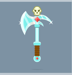 fantasy weapon battle-ax poleax vector image