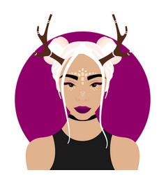 Girl with deer horns vector