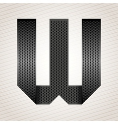 Letter metal ribbon - W vector image